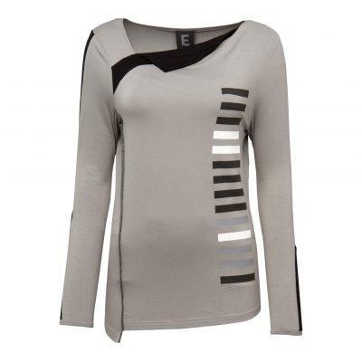 Kvinde Sporty Bluse med Stribe Detaljer forside grey
