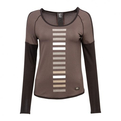 Woman Sporty T-Shirt with Strip Post Details front dust