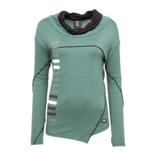 Woman Sporty Blouse with Strip Post and Head Collar front army