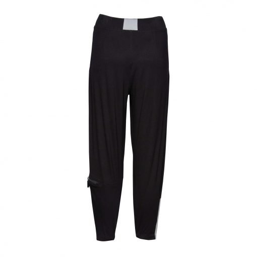 Woman Viscose Pants with trendy details back black grey