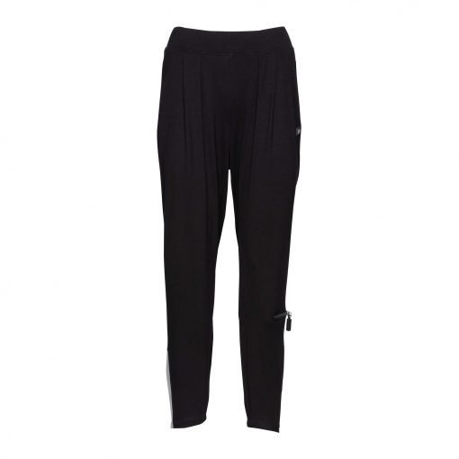 Woman Viscose Pants with trendy details front black grey