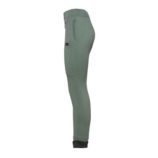 Woman Sporty Pants with Two Zippers side army