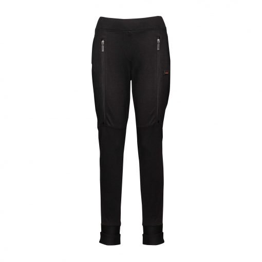 Woman Sporty Pants with Two Zippers front black