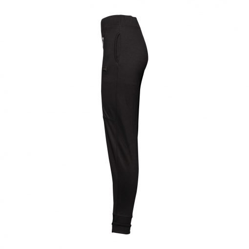 Woman Sporty Pants with Two Zippers side black