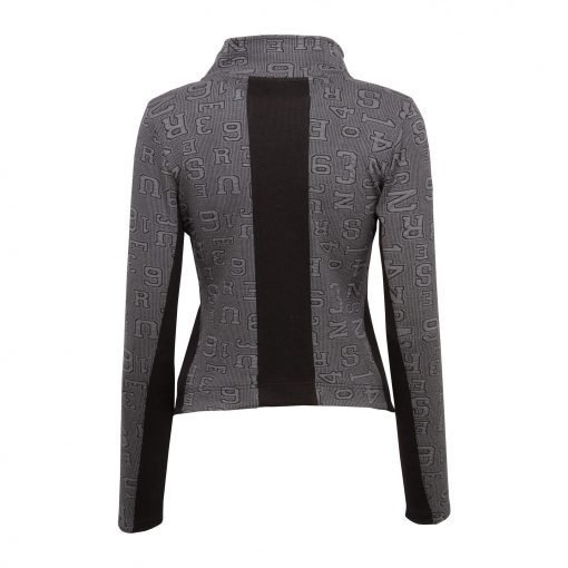 Woman Sporty Cardigan with Raw Details back grey