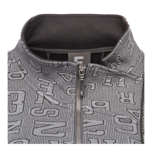 Woman Sporty Cardigan with Raw Details 2 grey