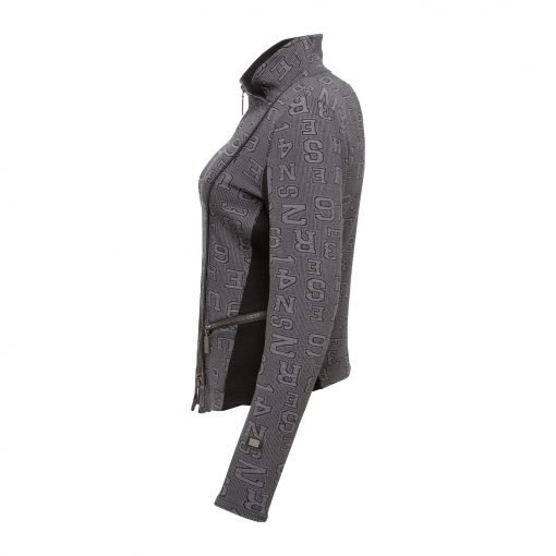Woman Sporty Cardigan with Raw Details side grey