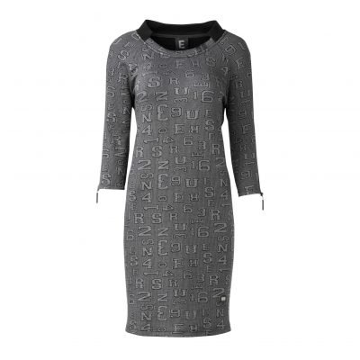 woman Raw Long Dress with Collar Details front grey