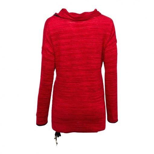 Kvinde Oversize Lang Bluse med Elastik Snor bagside ruby