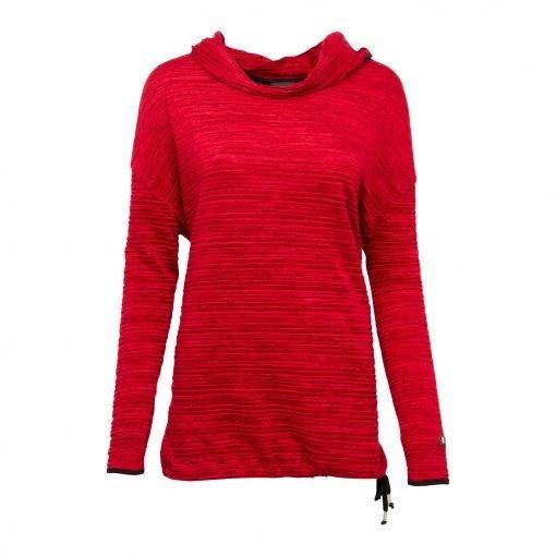 Kvinde Oversize Lang Bluse med Elastik Snor forside ruby