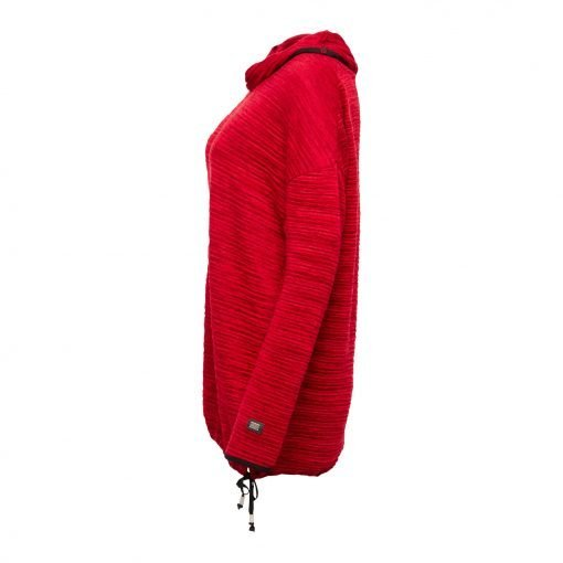 Kvinde Oversize Lang Bluse med Elastik Snor side ruby