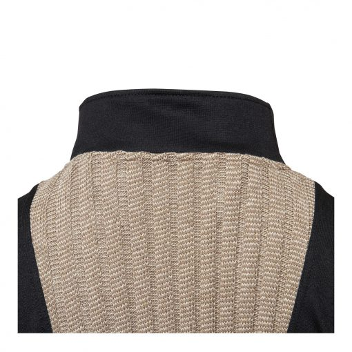 Woman Knitted Blouse with Long Sleeves back collar beige