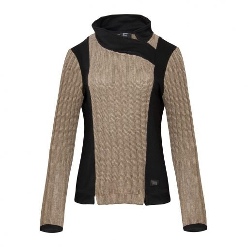 Woman Knitted Blouse with Long Sleeves front beige