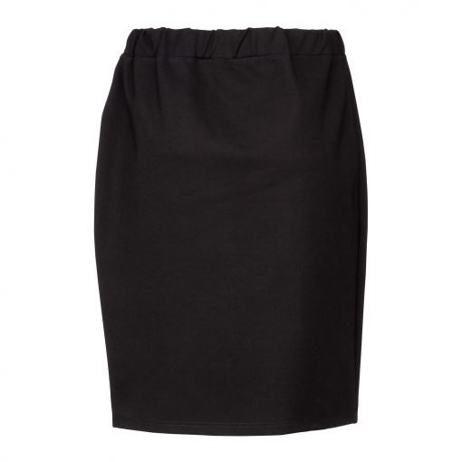 Woman Lower Knee Pencil Skirt back black