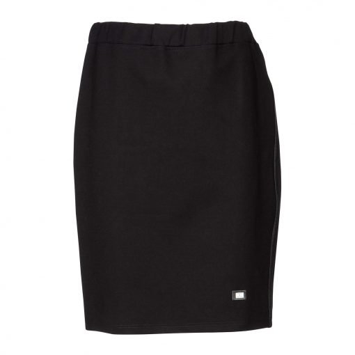 Woman Lower Knee Pencil Skirt front black