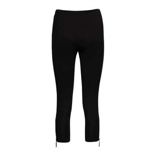 Woman Leggings 3/4 with zippers back black
