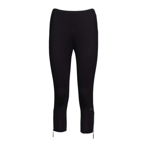 Woman Leggings 3/4 with zippers front black